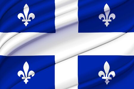 Quebec waving flag illustration. States, cities and Regions of Canada. Perfect for background and texture usage.