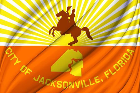 Jacksonville Florida waving flag illustration. Regions and Cities of the United States. Perfect for background and texture usage. Фото со стока - 128791133