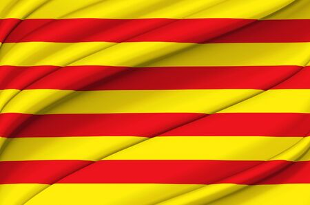Catalonia waving flag illustration. Regions and cities of Spain. Perfect for background and texture usage.