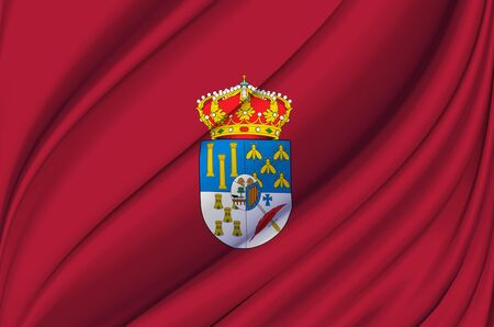 Salamanca waving flag illustration. Regions and cities of Spain. Perfect for background and texture usage. Stock Photo