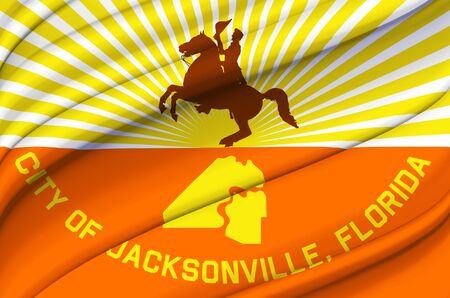 Jacksonville Florida waving flag illustration. Regions and Cities of the United States. Perfect for background and texture usage.