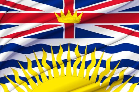 British Columbia waving flag illustration. States, cities and Regions of Canada. Perfect for background and texture usage. 스톡 콘텐츠