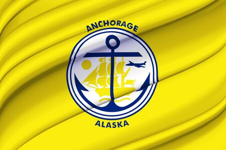 Anchorage Alaska waving flag illustration. Regions and Cities of the United States. Perfect for background and texture usage. Archivio Fotografico