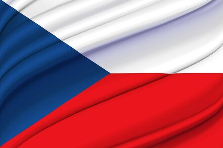 Czech Republic waving flag illustration. Countries of Europe. Perfect for background and texture usage. Stock Photo
