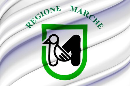 Marche waving flag illustration. Regions of Italy. Perfect for background and texture usage.