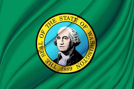 Washington waving flag illustration. US states. Perfect for background and texture usage.
