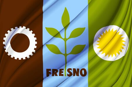 Fresno California waving flag illustration. Regions and Cities of the United States. Perfect for background and texture usage. Stock Photo