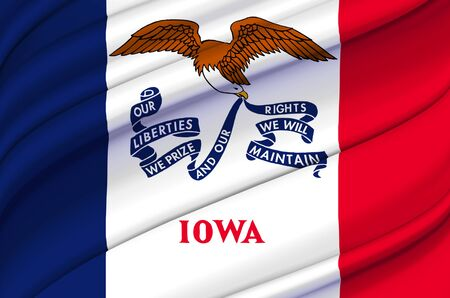 Iowa waving flag illustration. US states. Perfect for background and texture usage. Stock Photo
