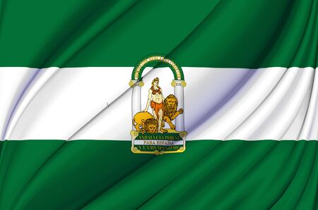Andalusia waving flag illustration. Regions and cities of Spain. Perfect for background and texture usage.
