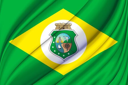 Ceara waving flag illustration. Brazilian states. Perfect for background and texture usage.