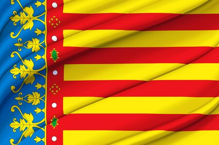 Valencia waving flag illustration. Regions and cities of Spain. Perfect for background and texture usage. Stock Photo