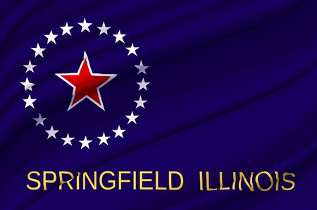 Springfield Illinois waving flag illustration. Regions and Cities of the United States. Perfect for background and texture usage.