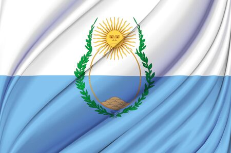 Mendoza waving flag illustration. Regions of Argentina. Perfect for background and texture usage.