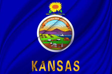 Kansas waving flag illustration. US states. Perfect for background and texture usage.