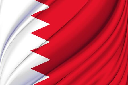 Bahrain waving flag illustration. Countries of Asia. Perfect for background and texture usage.