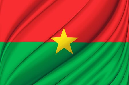 Burkina Faso waving flag illustration. Countries of Africa. Perfect for background and texture usage. Stock Photo