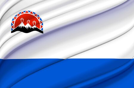 Kamchatka waving flag illustration. Regions of Russia. Perfect for background and texture usage. Stock Photo