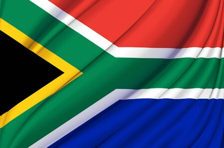 South Africa waving flag illustration. Countries of Africa. Perfect for background and texture usage.
