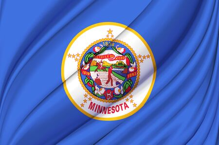 Minnesota waving flag illustration. US states. Perfect for background and texture usage.