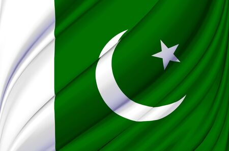 Pakistan waving flag illustration. Countries of Asia. Perfect for background and texture usage. Stock Photo