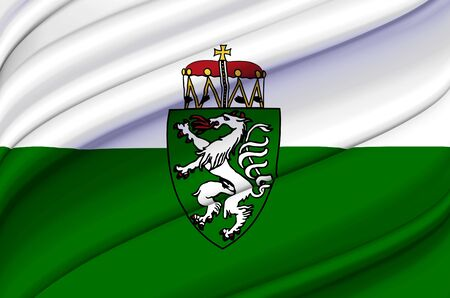 Styria waving flag illustration. Regions of Austria. Perfect for background and texture usage. Stock Photo