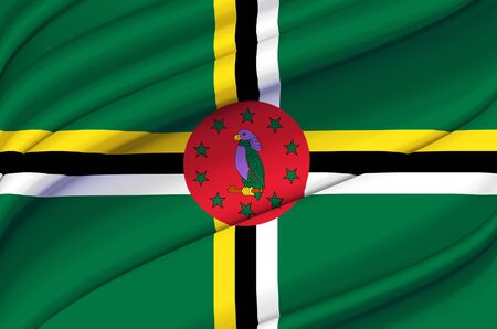 Dominica waving flag illustration. Countries of North and Central America. Perfect for background and texture usage.