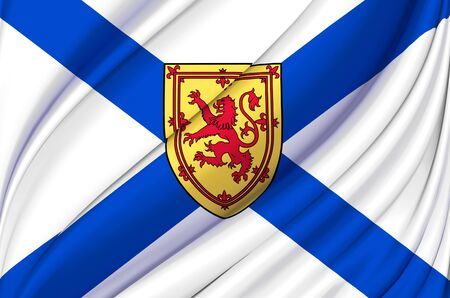 Nova Scotia waving flag illustration. States, cities and Regions of Canada. Perfect for background and texture usage.