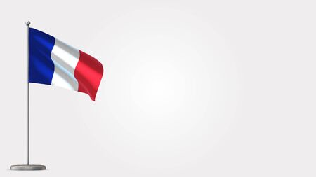 France 3D waving flag illustration on Flagpole. Perfect for background with space on the right side. Фото со стока