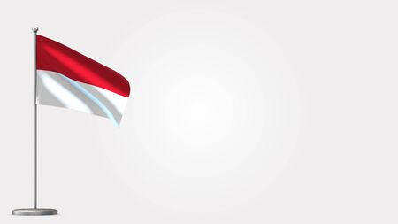 Indonesia 3D waving flag illustration on Flagpole. Perfect for background with space on the right side.