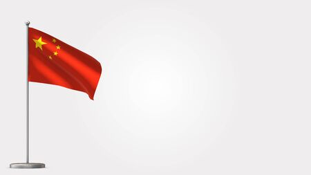 China 3D waving flag illustration on Flagpole. Perfect for background with space on the right side.