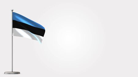 Estonia 3D waving flag illustration on Flagpole. Perfect for background with space on the right side.
