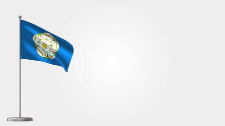 Yorkshire 3D waving flag illustration on Flagpole. Perfect for background with space on the right side.