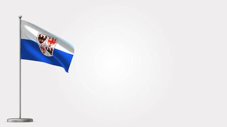 Trentino-South Tyrol 3D waving flag illustration on Flagpole. Perfect for background with space on the right side.