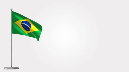 Brazil 3D waving flag illustration on Flagpole. Perfect for background with space on the right side. Stok Fotoğraf