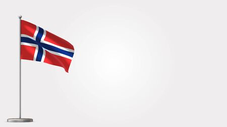 Norway 3D waving flag illustration on Flagpole. Perfect for background with space on the right side. Stok Fotoğraf