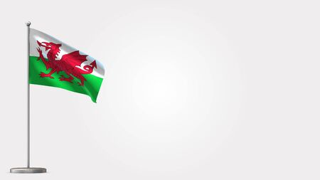 Wales 3D waving flag illustration on Flagpole. Perfect for background with space on the right side.