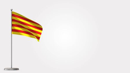 Catalonia 3D waving flag illustration on Flagpole. Perfect for background with space on the right side. Banco de Imagens