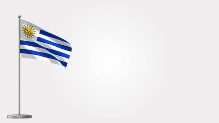 Uruguay 3D waving flag illustration on Flagpole. Perfect for background with space on the right side.