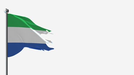 Galapagos Ecuador 3D tattered waving flag illustration on Flagpole. Perfect for background with space on the right side. Imagens