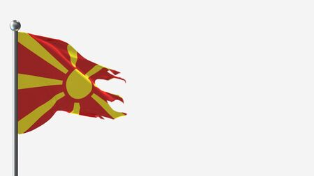 Macedonia 3D tattered waving flag illustration on Flagpole. Perfect for background with space on the right side.
