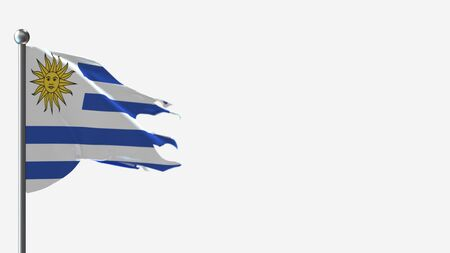Uruguay 3D tattered waving flag illustration on Flagpole. Perfect for background with space on the right side.
