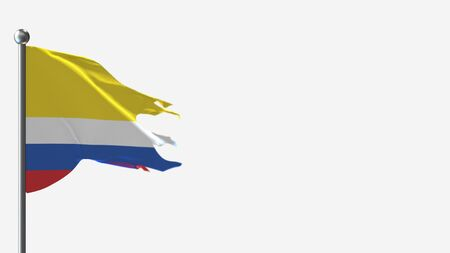 Napo Ecuador 3D tattered waving flag illustration on Flagpole. Perfect for background with space on the right side. Imagens