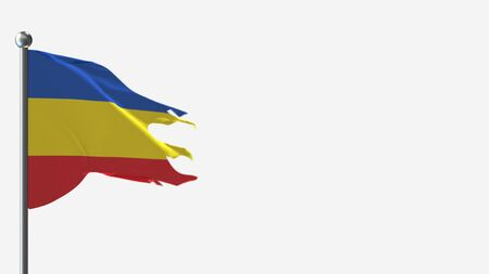 Canar Ecuador 3D tattered waving flag illustration on Flagpole. Perfect for background with space on the right side.