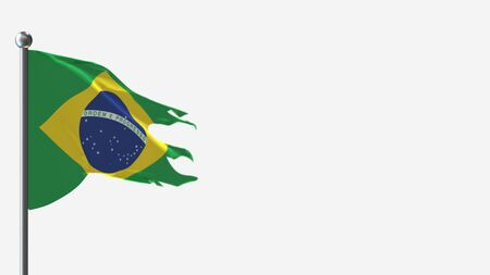 Brazil 3D tattered waving flag illustration on Flagpole. Perfect for background with space on the right side.