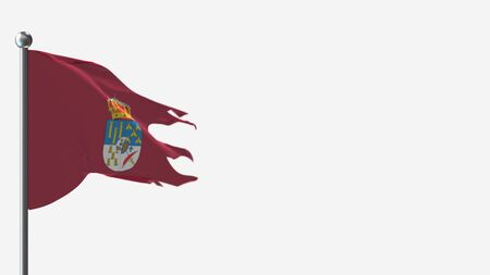 Salamanca 3D tattered waving flag illustration on Flagpole. Perfect for background with space on the right side.