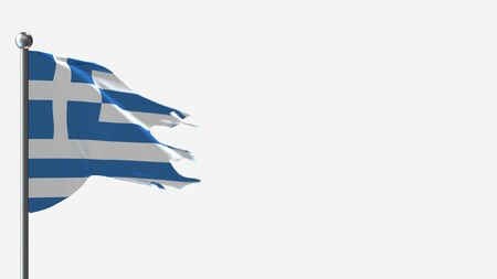 Greece 3D tattered waving flag illustration on Flagpole. Perfect for background with space on the right side. Stok Fotoğraf - 132008679