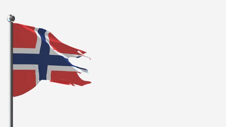 Norway 3D tattered waving flag illustration on Flagpole. Perfect for background with space on the right side.