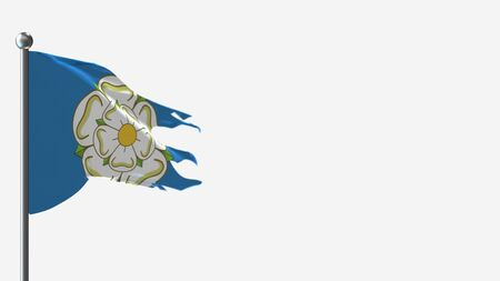 Yorkshire 3D tattered waving flag illustration on Flagpole. Perfect for background with space on the right side.
