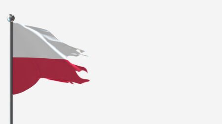 Poland 3D tattered waving flag illustration on Flagpole. Perfect for background with space on the right side.