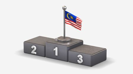 Malaysia 3D waving flag illustration on winner podium with three rank places. Isolated on white background.